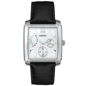 Seiko Men S Snt007 Leather Band Square Face Silver Watch Hl Art